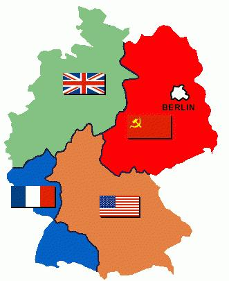 Germany Divided In 1948, the US, Britain and France decide to unite their occupied zones of Germany. They want Germany to be one country after the war.