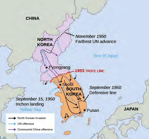 834 Chapter 28 Post-War Prosperity and Cold War Fears, 1945-1960 a swift advance of Chinese and North Korean forces and another invasion of Seoul, MacArthur urged Truman to deploy nuclear weapons