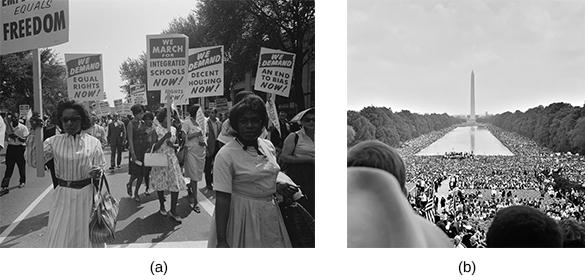 Chapter 29 Contesting Futures: America in the 1960s 875 Figure 29.16 During the March on Washington for Jobs and Freedom (a), a huge crowd gathered on the National Mall (b) to hear the speakers.