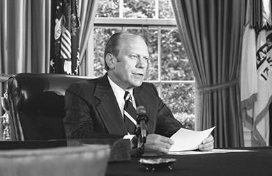 Chapter 30 Political Storms at Home and Abroad, 1968-1980 915 Figure 30.18 In one of his first actions as president, Gerald R. Ford announced a full pardon for Richard Nixon on September 8, 1974.
