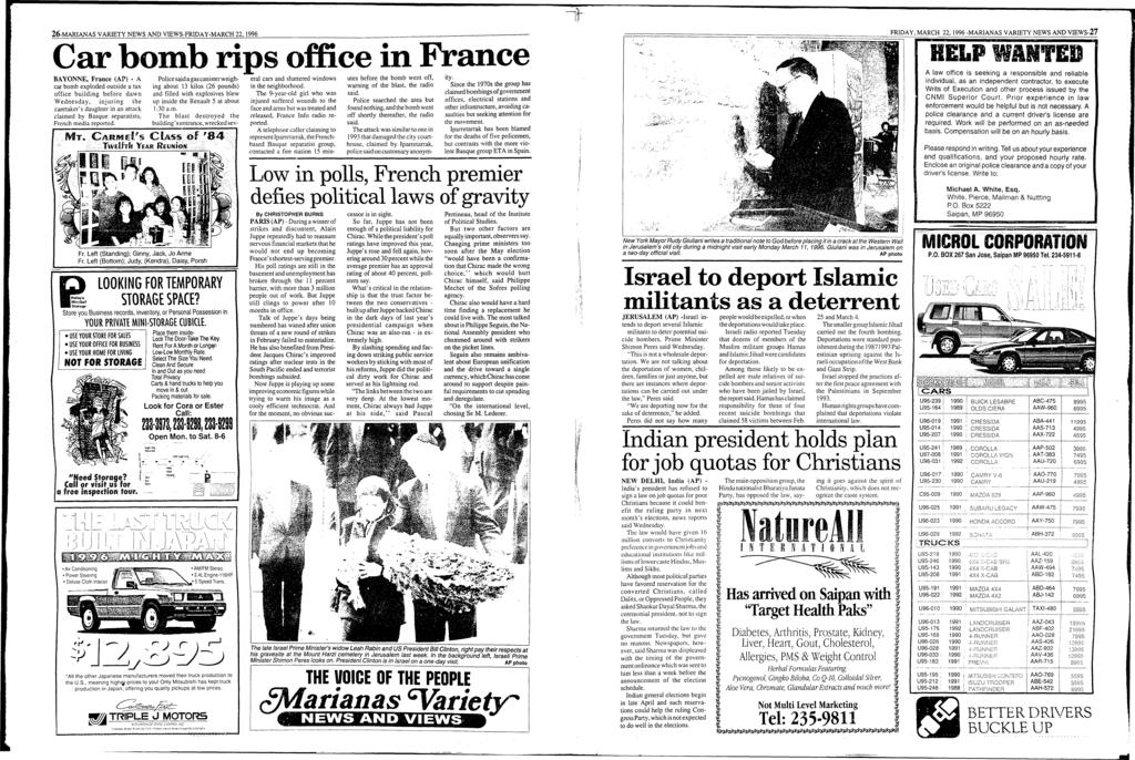 1990 AAL-420 AAU-720 26-MARANAS VARETY NEWS AND VEWS-FRDAY-MARCH 22, 1996 Car bomb rips office in France BAYONNE, France (AP) - A Police said a gas canister weighing about 13 kilos (26 pounds) in the