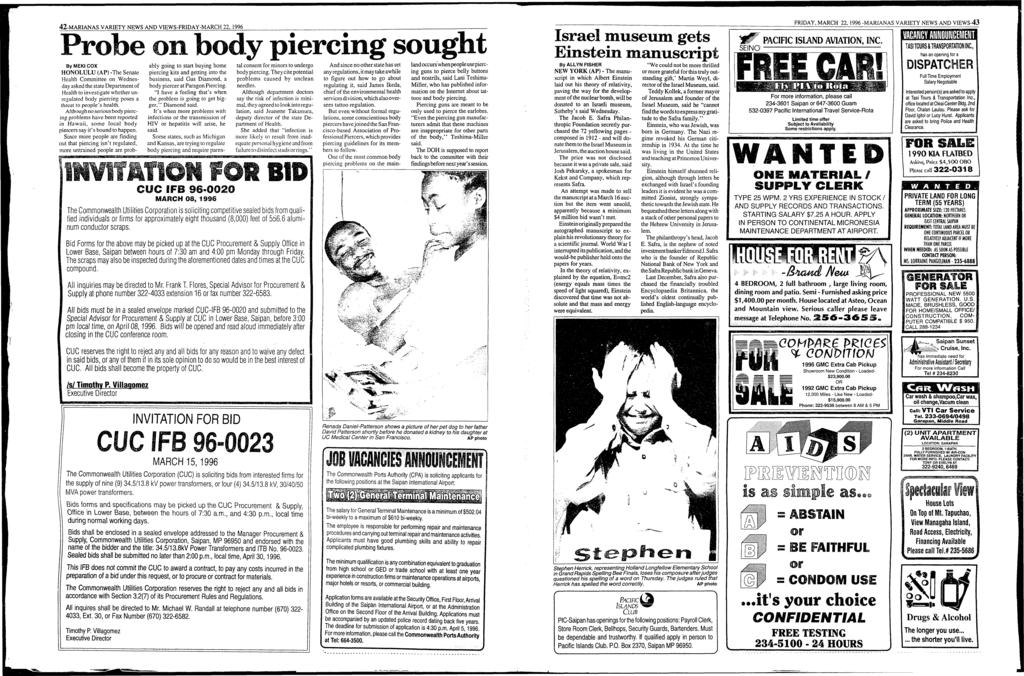 42-MARANAS VARETY NEWS AND VEWS-FRDAY-MARCH 22, 1996 Probe on body piercing sought ByMEK COX HONOLULU (AP) -The Senate Health Committee on Wednesday asked the state Department of Health to