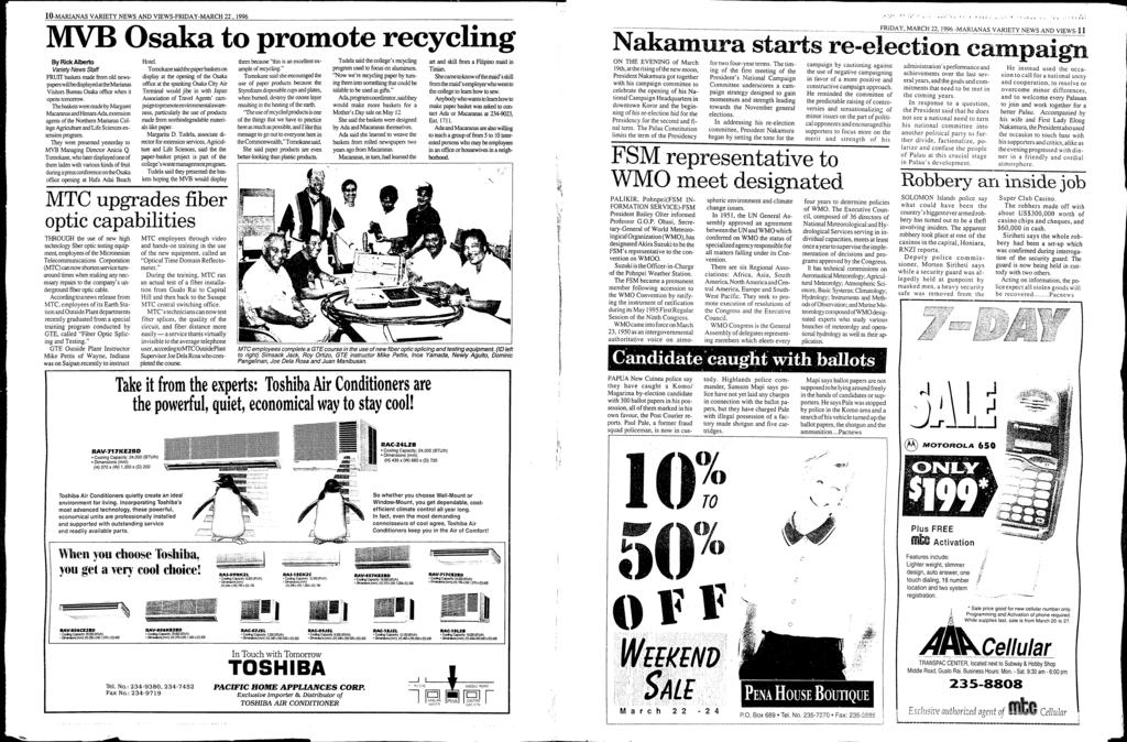 10-MARANAS VARETY NEWS AND VEWS-FRDAY-MARCH 22, 1996 Osaka to promote recycling By Rick Alberto Variety News Sta.