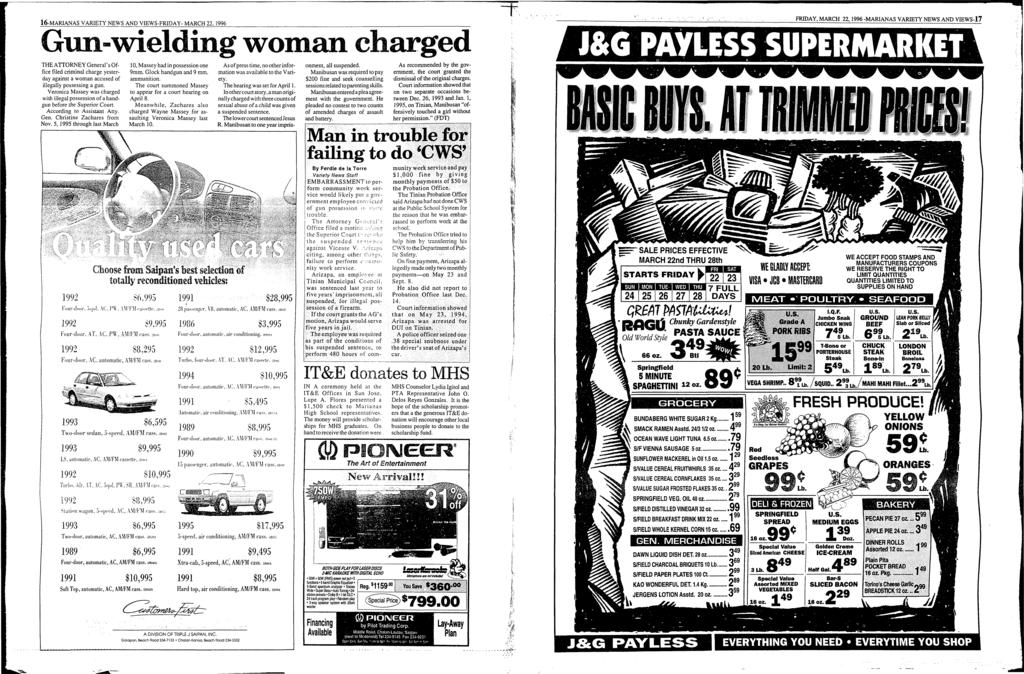 16-MARANAS VARETY NEWS AND VEWS-FRDAY- MARCH 22, 1996 Gun-wielding woman charged ; ~.