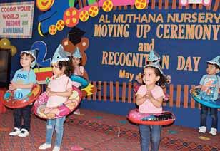 Al Muthana Nursery holds 4th graduation ceremony Al Muthana nursery has successfully held its 4th Graduation Ceremony titled Moving up Ceremony and Recognition Day for its preschool level on May 12,