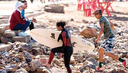 around the world. The sport gradually gained Moroccan enthusiasts, including women. In September 2016, the country held its first international women s surfing contest.