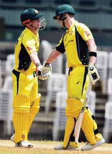 sport 15 Aussies warmed up for Indian tour Riding on Stoinis blitz, Smith s boys inflict 103-run defeat to BP XI in lone practice game PTI n CHENNAI A ustralia warmed up for the limited-overs series