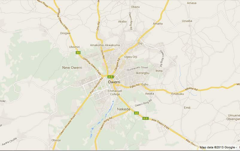 5. Owerri Google Earth map showing the major road division