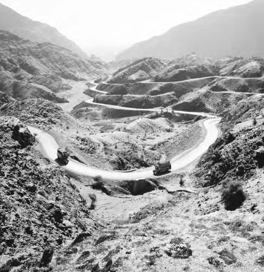150 KUNAR PROVINCE Trucks negotiate the winding road leading through the Khyber Pass in northwestern Pakistan. (Ric Erginbright/Corbis) Alder, G. 1963.