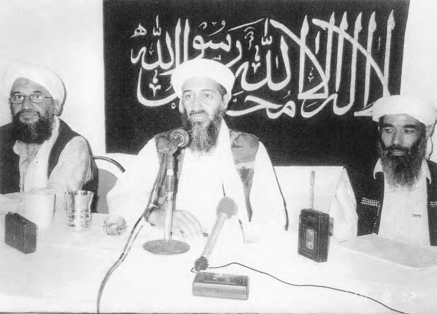 208 AL-QAEDA This undated photo shows Saudi-born dissident Osama Bin Laden (C) and top deputies Ayman Al-Zawahiri (L), a physician and the founder of the Egyptian Islamic Jihad, and Muhammad Atef