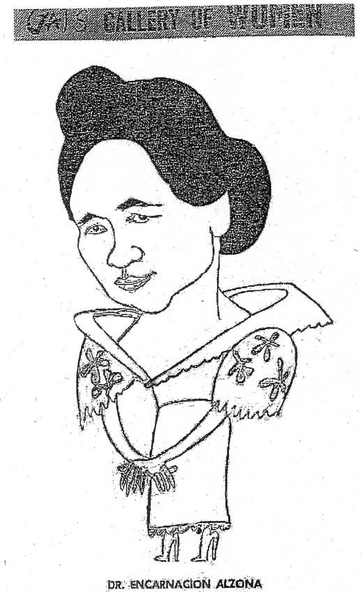 Defining The Filipino Woman in colonial Philippines 47 Figure 2.5 Cartoon of Dr. Encarnación Alzona by cartoonist Gat probably published in The Manila Chronicle, no date.