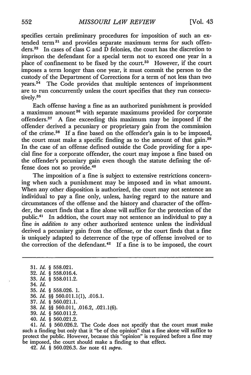 552 Missouri Law Review, Vol. 43, Iss. 3 [1978], Art. 6 MISSOURI LAW REVIEW [Vol.