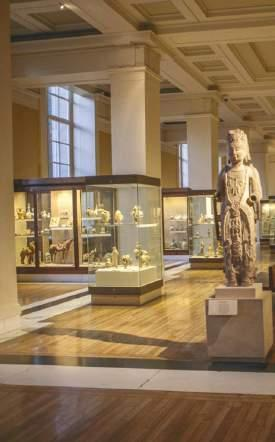 British Museum is a comprehensive national museum with particularly outstanding holdings in archaeology and ethnography. It is located in the Bloomsbury district of the borough of Camden.
