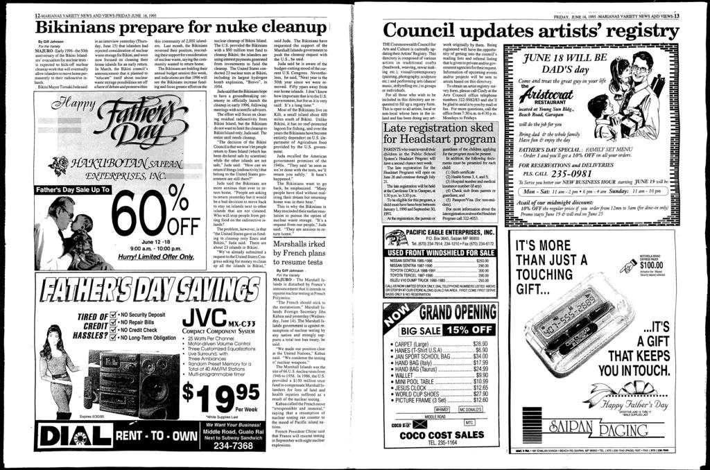 12-MARANAS VARETY NEWS AND VEWS-FRDAY-JUNE 16, 1995 Bikinians prepare for nuke clean.