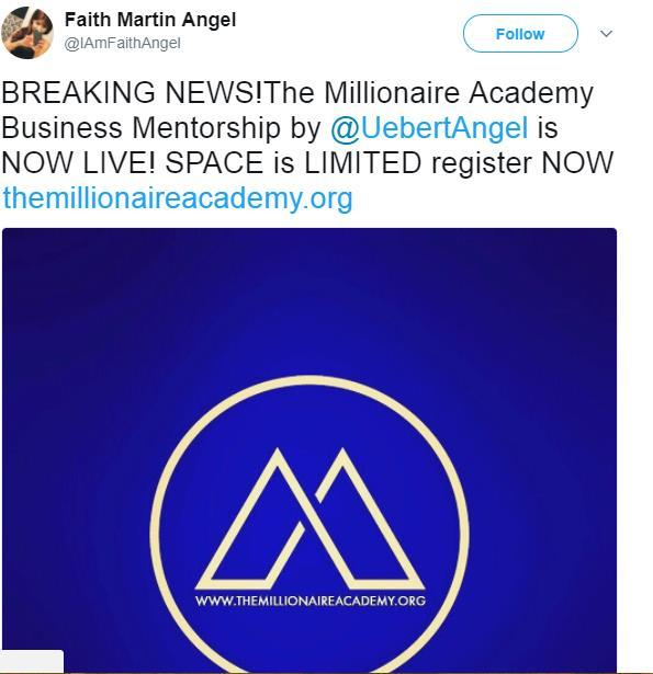 Picture 5:11 Tweets announcing the launch of The Millionaire Academy by TGNC.