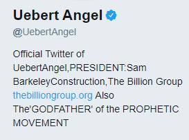 Equally, Uebert Angel (TGNC) who has publicly made claims to be worth US$60 million (Jemwa, 2013), on his Twitter biography associates himself with a particular enterprise: President: Sam Barkeley