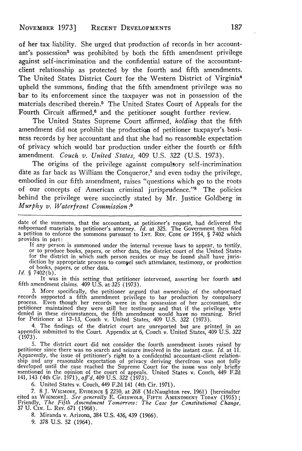 NOVEMBER 1973] Villanova Law Review, Vol. 19, Iss. 1 [1973], Art. 6 RECENT DEVELOPMENTS of her tax liability.