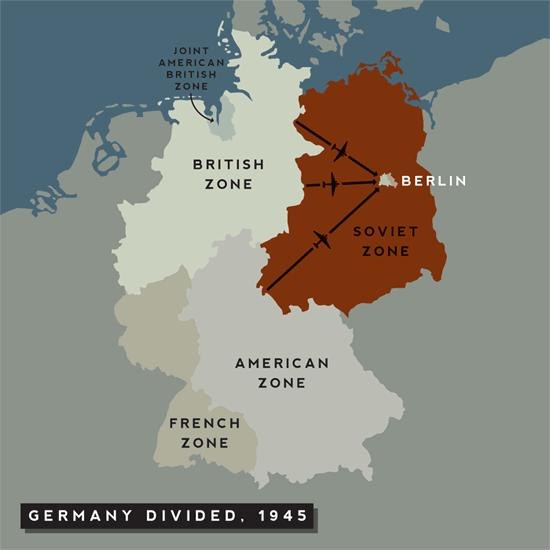 Post-War Germany Germany divided into 4 zones, controlled by Soviet Union France