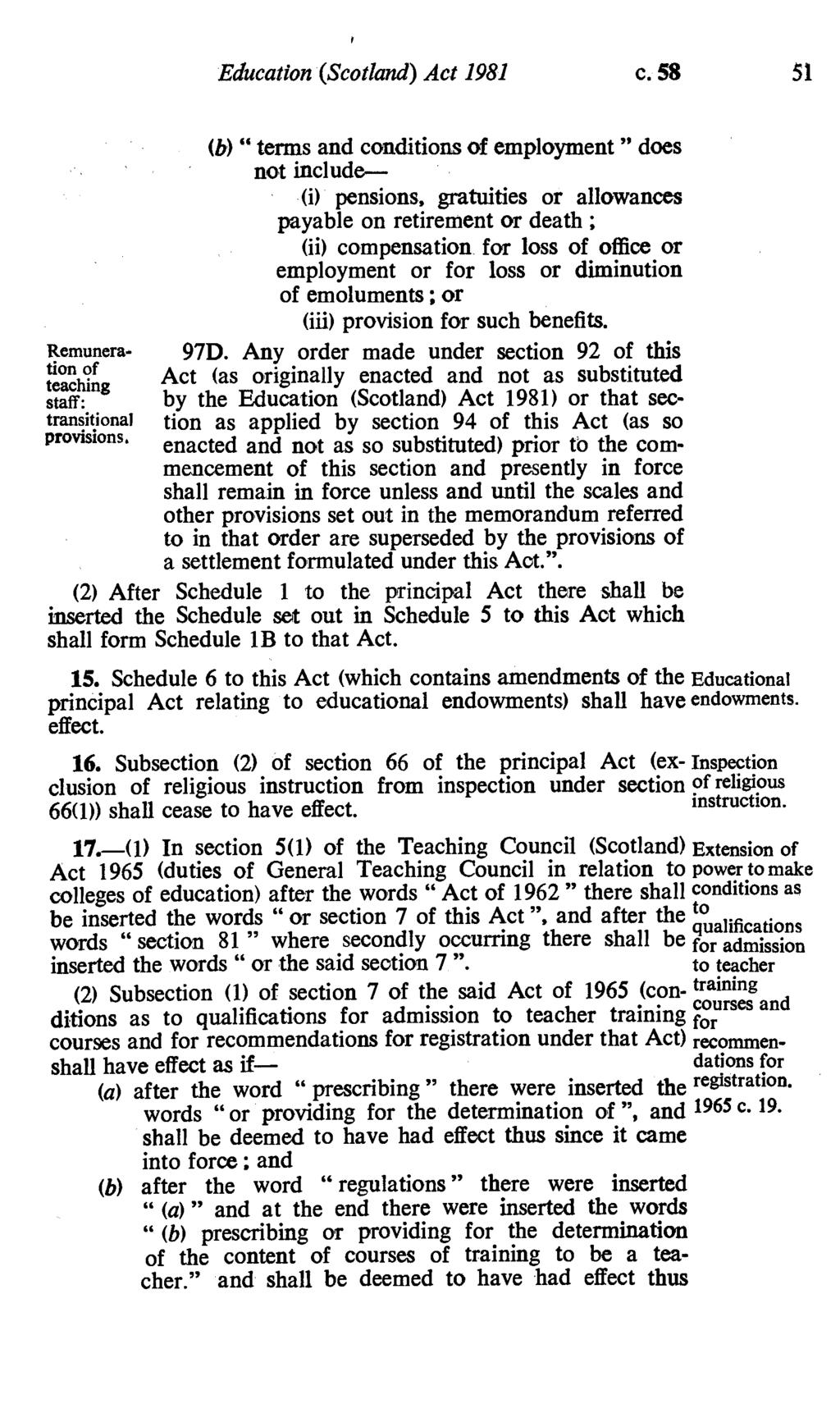 Education (Scotland) Act 1981 c. 58 51 Remuneration of teaching staff: transitional provisions.