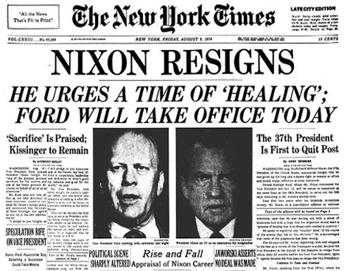 WATERGATE RESULTS President Nixon tried to cover up the break-in. Before being impeached President Nixon resigns from being President.