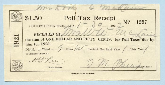 Poll Tax The tax had to be paid before one could