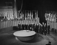 to establish a new peacekeeping body After two months of debating, on June 26, 1945, the delegates signed the charter