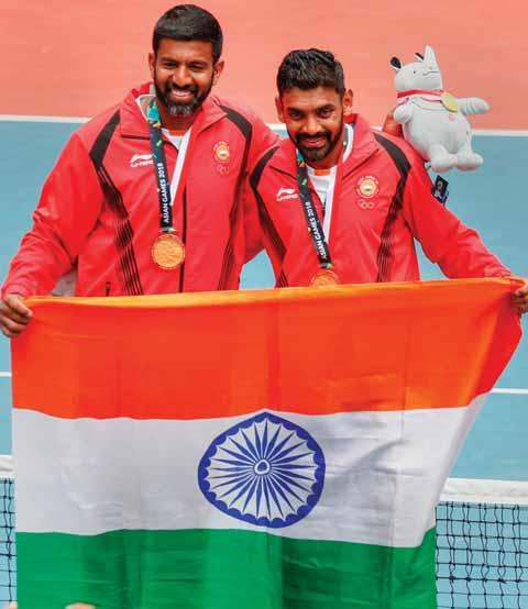 T op seeds Rohan Bopanna and Divij Sharan notched up their maiden men's doubles Gold medal at the Asian Games tennis competition, dominating the final clash with a thoroughly clinical performance