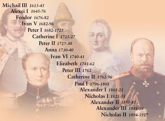 300 Years of Absolute Monarchy in Russia (1613 1917) Renaissance & Enlightenment ideas never spread to Russia Romanov Family ruled as virtual dictators for 300 years (Tsar or Czar =
