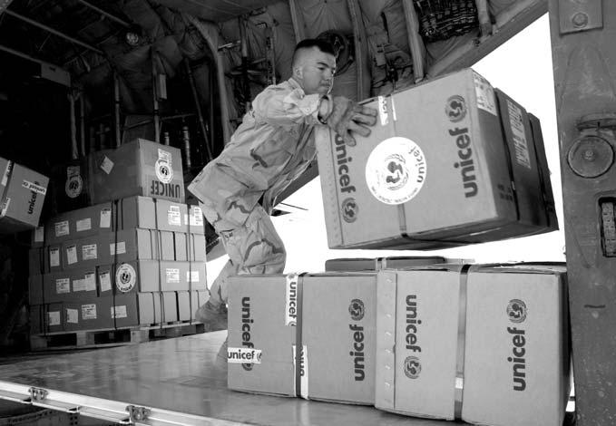 Medical supplies being unloaded from a Belgian air force plane at Baghdad s airport, May 2003 far enough to deal with the threats that conflict of interest, deferral to belligerent chains of command,