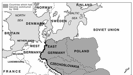 Activity 2 On the following map, find the Iron Curtain that Churchill mentioned.