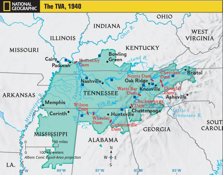 In 1933 the Tennessee Valley Authority (TVA) was created as part of Roosevelt s New Deal to control floods and bring electricity to rural America The TVA