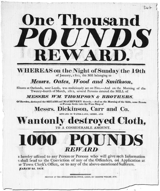 And in 1812 Reward Poster for