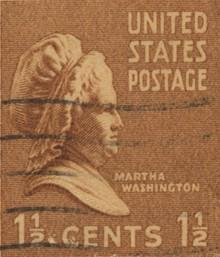MARTHA WASHINGTON This old postage stamp has a picture of