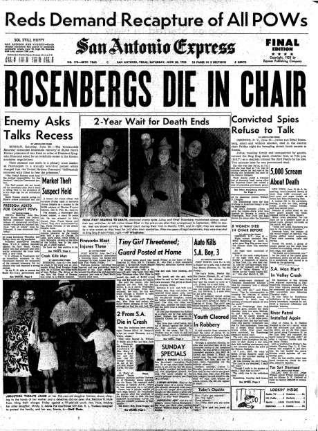 Rosenbergs - As the Second Red Scare was in full swing, Julius and Ethel Rosenberg accused of passing secrets