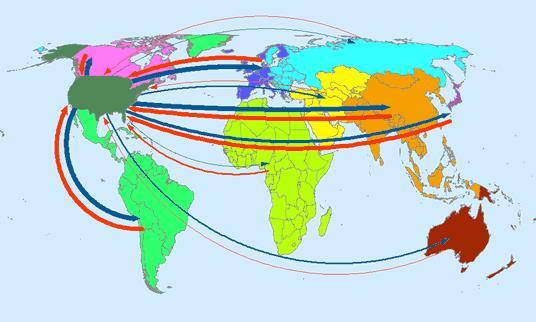 Compare these two maps of trade flows: MAP 1: TRADE FLOWS BETWEEN USA AND