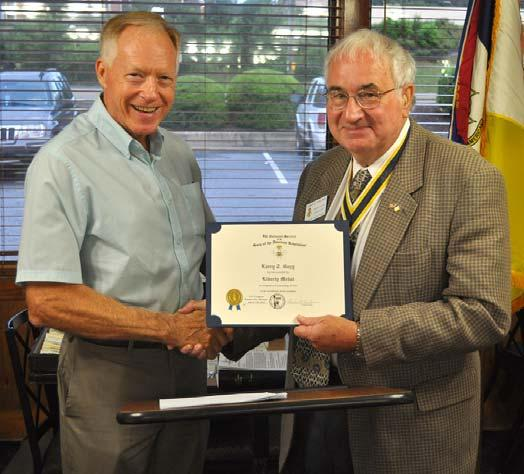 William Forrester received his membership certificate from President Terry Gibbs.