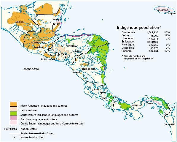 Map 2 Multicultural Central America, circa 2000 Source: Pérez-Brignoli, 2003 The original and principal problem continues to be the current structure and performance of the Central American nation