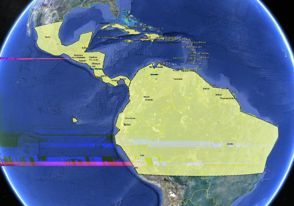 CHAPTER 4. AGENT-BASED MODEL Figure 4.1: Borders (yellow) as a polygons set in Google Earth.