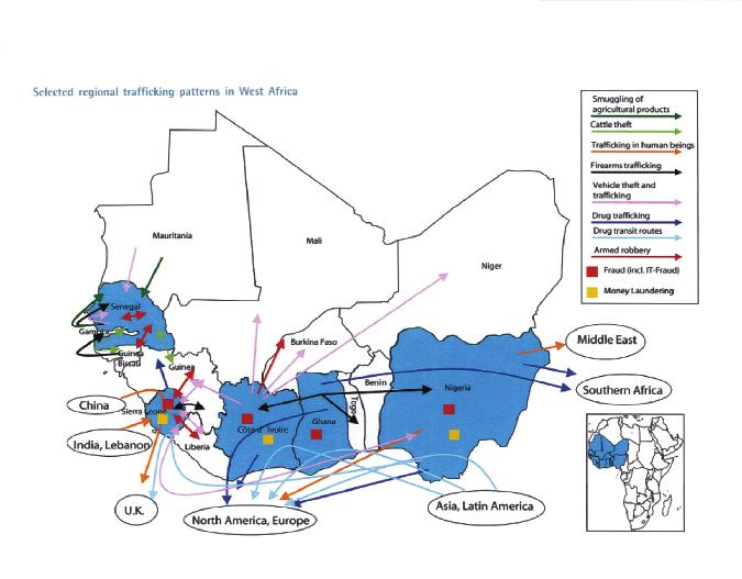 Appendix I Selected regional trafficking patterns in West Africa Source: Transnational