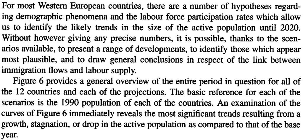 "ACTIVE POPULAnON GROWTH AND IMMIGRA non HYPOrHESES 21 Scenario 3 ""LH"": ""low"" population (low fertility and low immigration) and ""high"" activity rates."