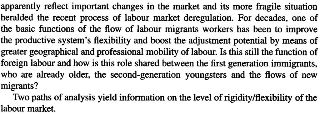 ACflVE POPULATION GROWTH AND IMMIGRATION HYPOTHESES 31 apparently reflect important changes in the market and its more fragile situation heralded the recent process of labour market dereguiation.