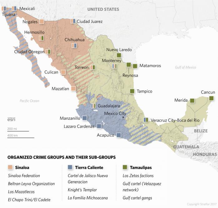 Figure 3. Cartel Map by Region of Influence in 2017 (Mexican cartels by origin and region of influence is the basis for this mapping) Source: Stratfor Global Intelligence.