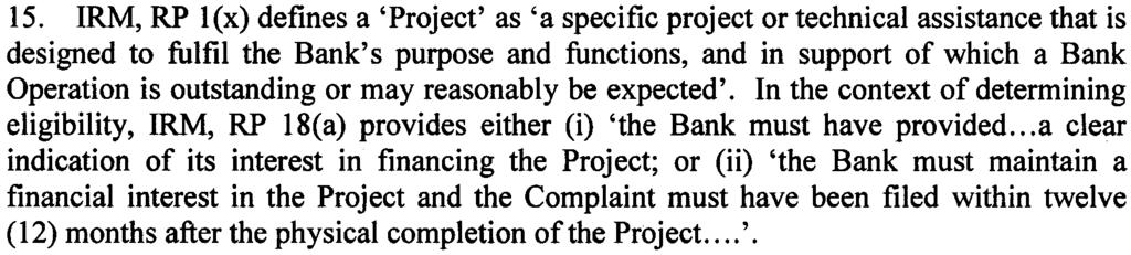 Does the Complaint relate to a Project [IRM, Rule ofprocedure 18 (a)]?
