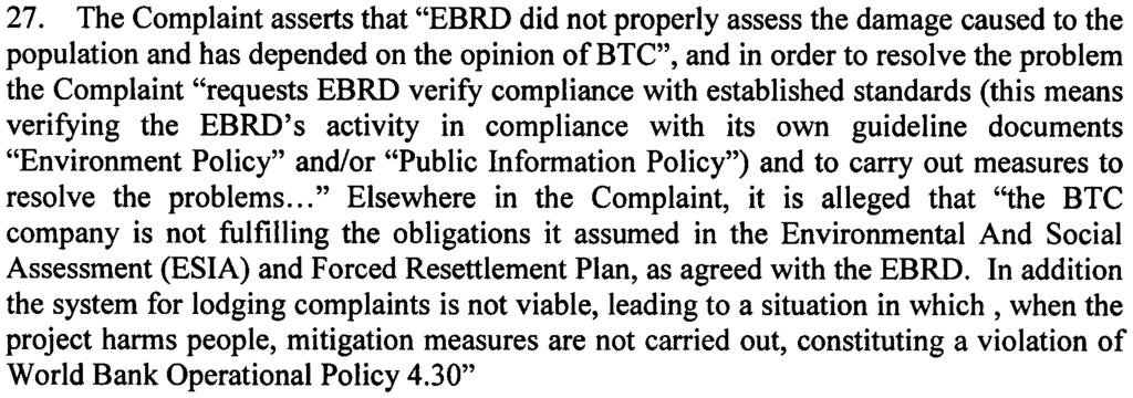 the terms cultural property, involuntary settlement and indigenous peoples, footnote 2 in the EBRD Environmental Policy document refers to IFC Operational Policy Note OPN 1103 for cultural property