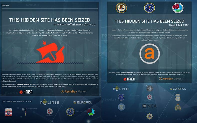 Darknet marketplaces Takedown of HANSA and AlphaBay marketplaces following a multi-jurisdiction police operation led by the US FBI & DEA, the Dutch