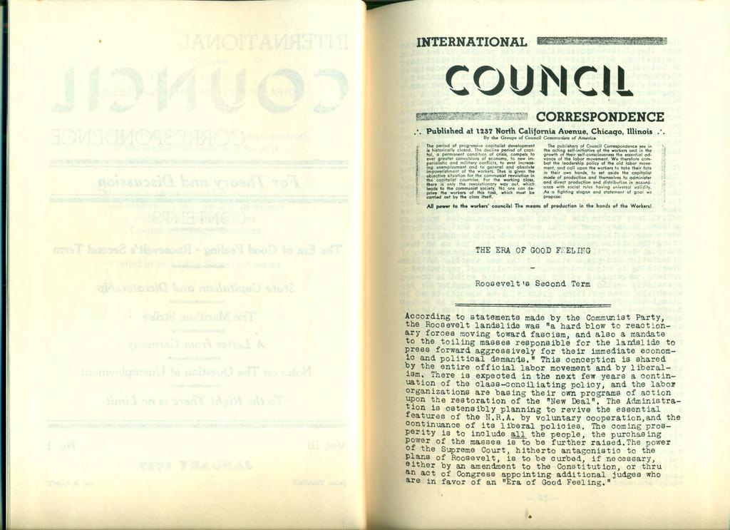 INTERNATIONAL COUf'IClt,.. Published at US? Norih Califot't\ia Avenue. Chicaqo. lllinois.. Bl' th. Groups of Council Ccmmu:<1ûtsof America Ibe publishers of Council Ccrrespcndence Jee in :r~hti~?