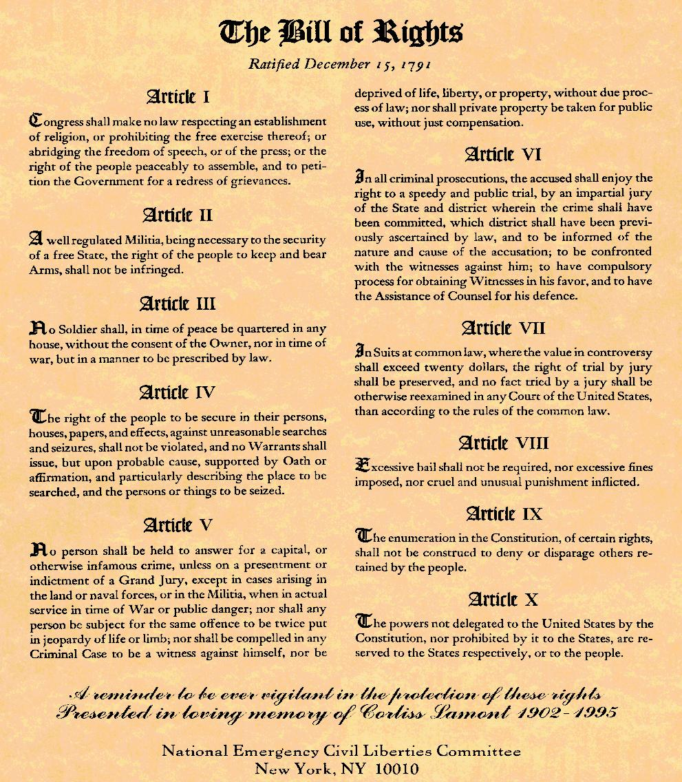 ADOPTION OF THE BILL OF RIGHTS To satisfy the States-Rights advocates, a Bill of Rights was added to the Constitution to guarantee