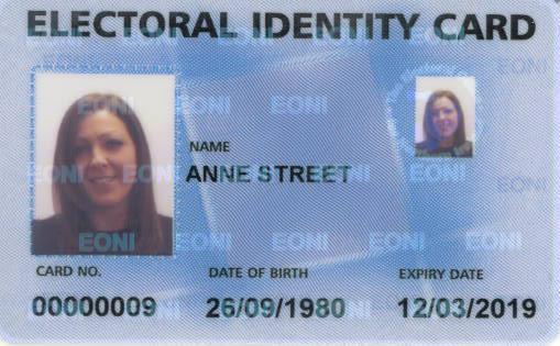 Electoral Identity Card MINI VERSION OF MAIN PHOTOGRAPH WITH EONI LOGO HOLOGRAPHIC