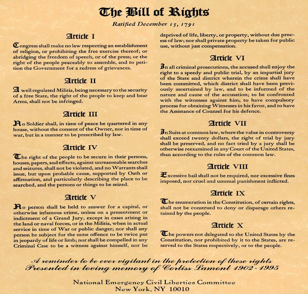 Bill of Rights- Amendments 1-10 Amendments 1-9 protect basic individual freedoms. The 10 th Amendment deals with powers between the states and federal government.