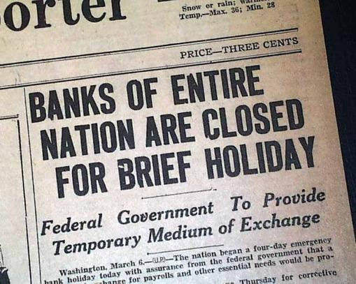 TO-DO LIST: #1 BANKS First order of business was to get the banking system in order On March 5, one day after taking office, FDR declared a